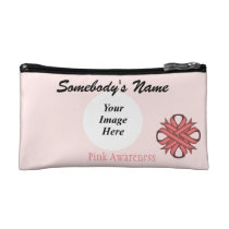 Pink Clover Ribbon Template Cosmetic Bag