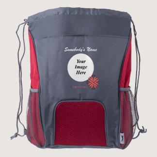 Pink Clover Ribbon Template Drawstring Backpack
