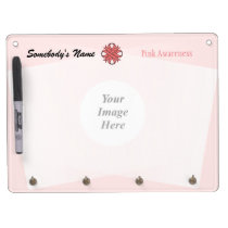 Pink Clover Ribbon Template Dry Erase Board With Keychain Holder