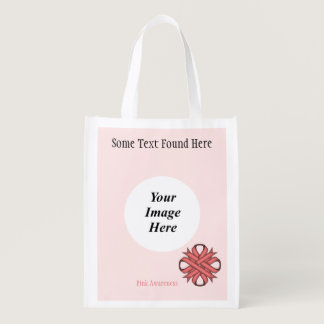 Pink Clover Ribbon Template Grocery Bag