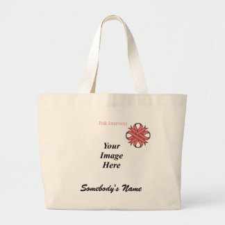 Pink Clover Ribbon Template Large Tote Bag