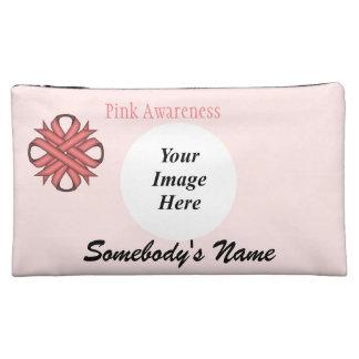 Pink Clover Ribbon Template Makeup Bag