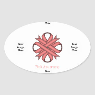 Pink Clover Ribbon Template Oval Sticker