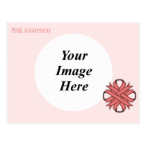 Pink Clover Ribbon Template Postcard