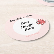 Pink Clover Ribbon Template Round Paper Coaster