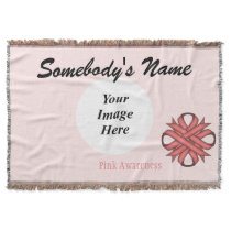Pink Clover Ribbon Template Throw