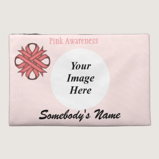 Pink Clover Ribbon Template Travel Accessory Bag