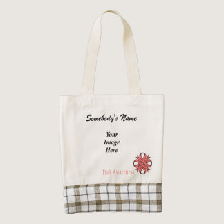 Pink Clover Ribbon Template Zazzle HEART Tote Bag
