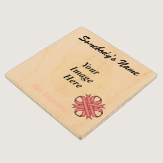 Pink Clover Ribbon Tmpl by Kenneth Yoncich Wooden Coaster