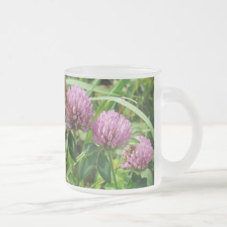 Pink Clover Wildflower - Trifolium pratense Frosted Glass Coffee Mug