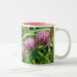 Pink Clover Wildflower - Trifolium pratense Two-Tone Coffee Mug