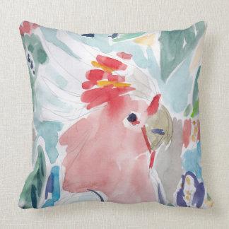 Pink Cockatoo Watercolor Throw Pillow