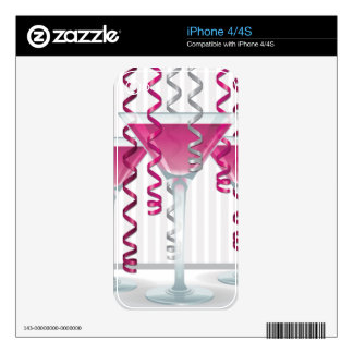 Pink cocktail and ribbon iPhone 4S decal