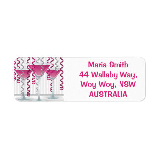Pink cocktail and ribbon label