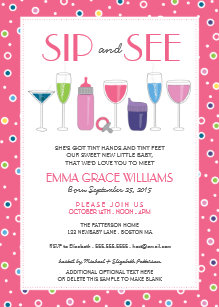 girl sip and see invitations zazzle