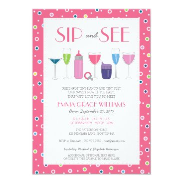Toddler & Baby themed Pink Cocktail New Baby Girl Sip and See Invitation