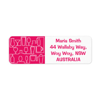 Pink cocktail party label