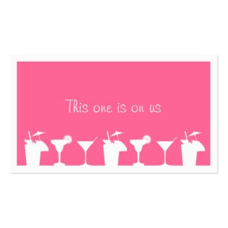 Pink cocktail wedding event custom drink ticket profilecard