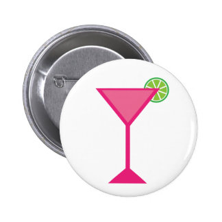 Pink Cocktail With Lime Pinback Button