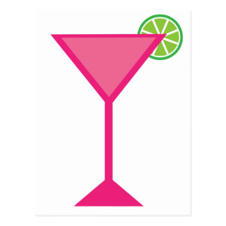 Pink Cocktail With Lime Postcard