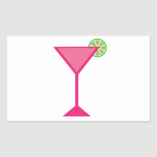 Pink Cocktail With Lime Rectangular Sticker