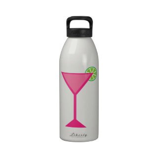 Pink Cocktail With Lime Reusable Water Bottles