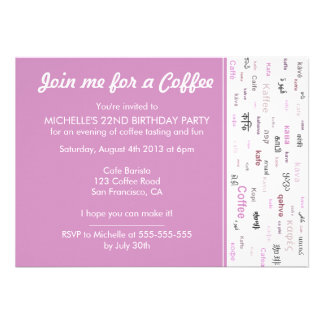 Pink Coffee lovers birthday party invitations