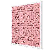 Pink Coffee Pattern Canvas Print