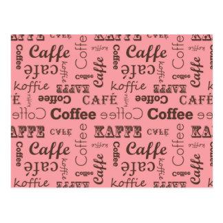 Pink Coffee Pattern Postcard