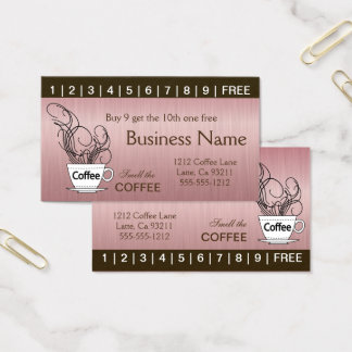 Pink Coffee Punch Cards on Both Sides