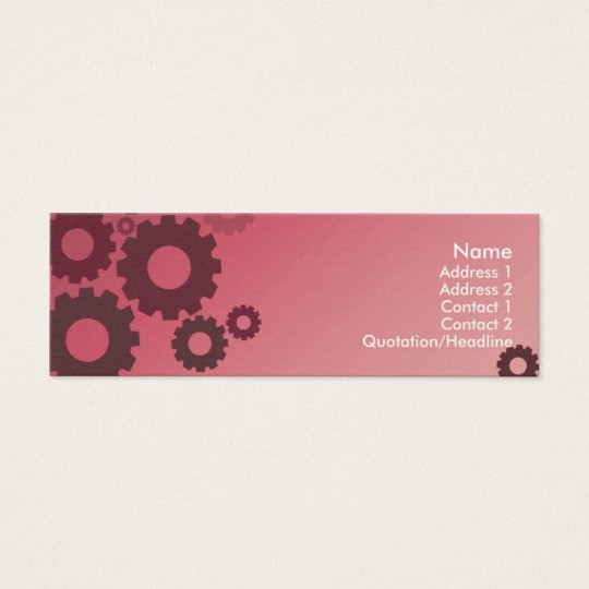 Pink Cogs - Skinny Mini Business Card