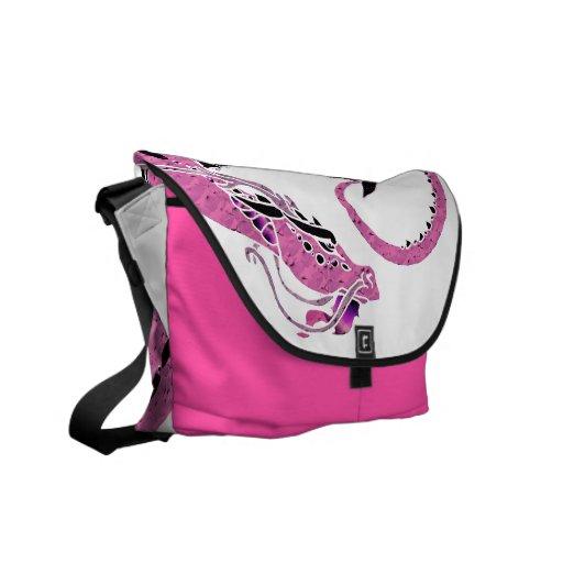 Pink Coiled Dragon Messenger Bag