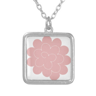 pink collar peony square pendant necklace