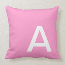 Pink Color Block Monogram and Name Pillows