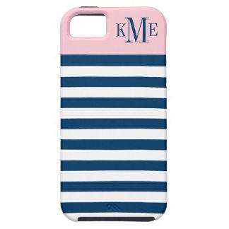 Pink Color Block Monogram   Navy Stripes iPhone SE/5/5s Case