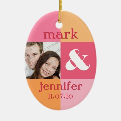 Pink Color Block Photo Wedding Ornament