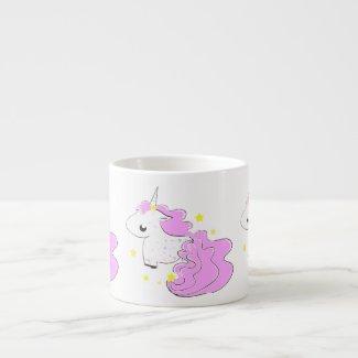 Pink color cartoon unicorns with stars baby mug specialtymug