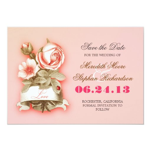 pink color elegant flowers drawing save the date personalized invite