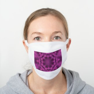 Pink color geometric pattern - white cotton face mask