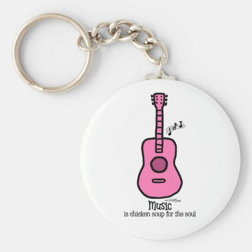 Pink color guitar - Music Key Chain