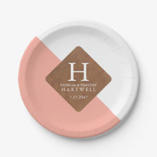 Pink Color Split Faux Leather Patch Wedding Paper Plate