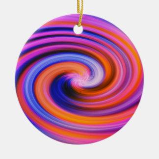 Pink Color Swirl Pop Art Ceramic Ornament