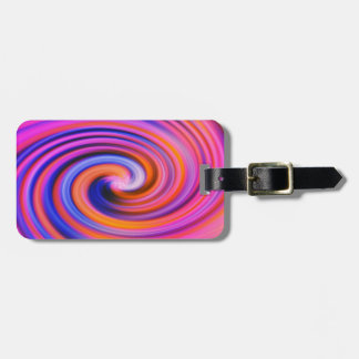Pink Color Swirl Pop Art Tag For Bags