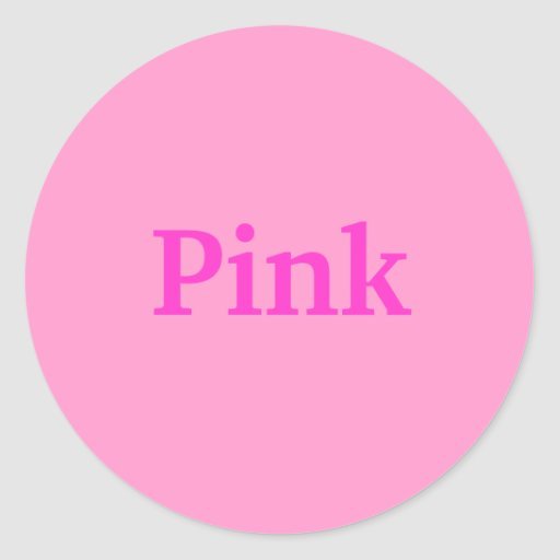 pink color word on light pink stickers