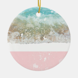 Pink Colorblock Splatters Blue Wave Ceramic Ornament