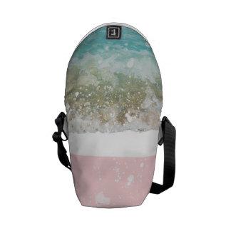 Pink Colorblock Splatters Blue Wave Courier Bag