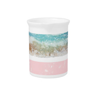 Pink Colorblock Splatters Blue Wave Pitchers