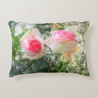Pink colored roses in guards, Light of flares Decorative Pillow