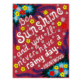 Pink Colorful Flowers Typography Optimism Quote Postcard