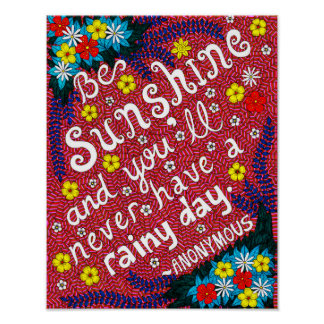 Pink Colorful Flowers Typography Optimism Quote Poster